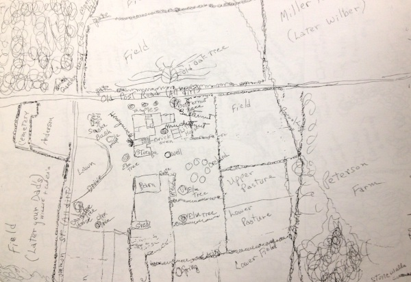 A hand-drawn map, made by the Jarvis family, of the former Jarvis Farm (now the Sharon Country Day Camp property) and surrounding neighborhood on Common Street in Walpole. (Courtesy: Walpole Historical Society.)