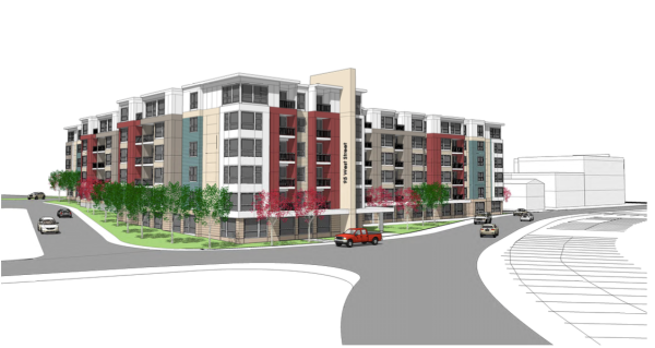 Proposed rendering of mixed-use development on West Street, Walpole.
